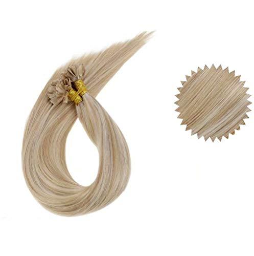 LaaVoo 14 Zoll U Tips Extensions #18/613 Aschblond mit Gebleichtes Blond Echthaar Keratin Bondings 50G/50Strähne Hot Fusion Menschen fur Kurze Haare