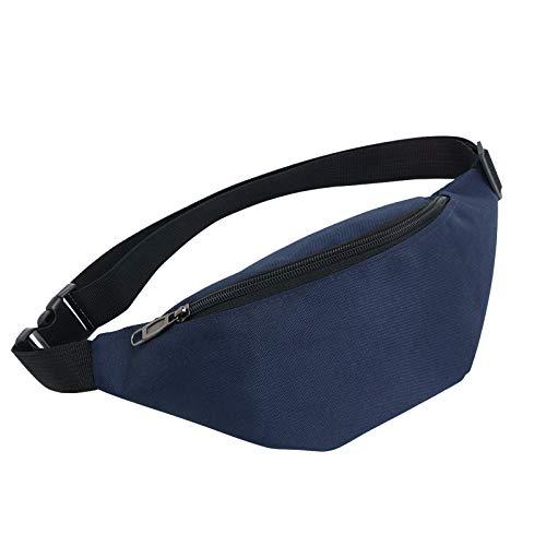 Qisiewell Basic Mode-Gürteltasche Sport-Bauchtausche Wander-Hüfttasche 2 Fächer Reißverschluss Verstellbarer Gurt Damen/Herren