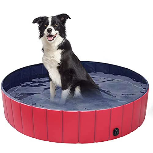 Wodondog Piscina para Mascotas Plegable Piscina para Perros Tina de baño para Mascotas Kiddie Pool 120 x 30CM