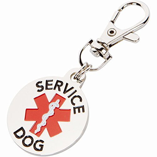 K9King Service Dog TAG Double Sided with Red Medical Alert Symbol 1.25 inch Diameter. Easily Switch Between Collar Vest and Harness