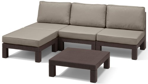 Allibert 212361 Lounge Set Nevada, Plastica, Effetto Rattan, Marrone