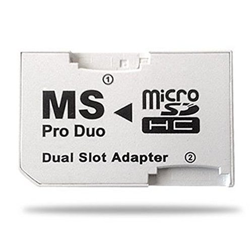 Kentop Dual Slot Micro SDHC TF a MS Memory Stick PRO Duo adattatore Micro SDHC TF Memory Stick PRO Duo convertitore per Sony PSP
