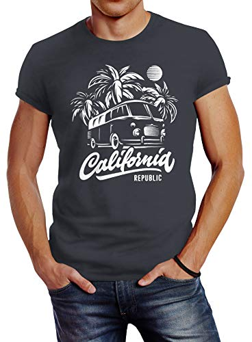 Neverless Herren T-Shirt California Surf Retro Bus Abenteuer Urlaub Palmen Slim Fit dunkelgrau L