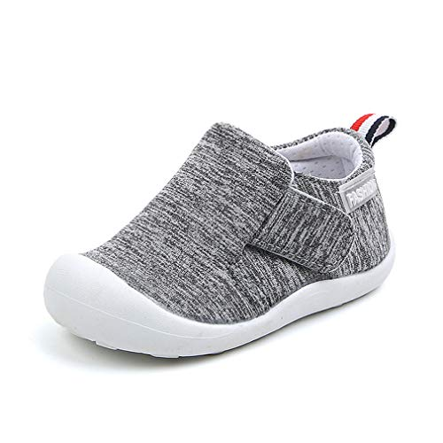 OAISNIT Baby Boys Girls Sneakers Anti Slip Lightweight Soft Toddler First Walkers for Walking Running (4.5 M Toddler, A-Grey)