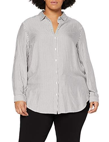 TOM TAILOR MY TRUE ME Damen Streifen T-Shirt, 24807-offwhite Charcoal st, 54