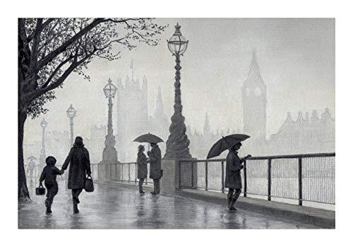 Qilo Blanco y Negro Jigsaw Puzzle Londres bajo la Lluvia 520/1000/1500/2000/3000 Pieza del Rompecabezas de Madera, Decoraciones de Familia, único Regalo de cumpleaños (Size : 1000pieces )