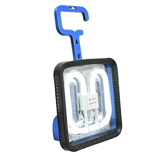 as - Schwabe Energiesparlampe Power-Tech 190 – 38 W Profi Baustrahler mit klappbarem Haken – Arbeitsleuchte zum Energie sparen – Leuchte für Außenbeleuchtung – Voll-Gummidichtung - IP44 - Blau I 46838