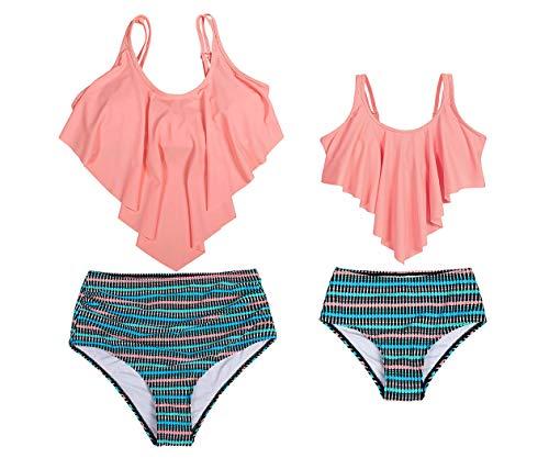 Cotrio Mother and Daughter Swimwear Family Matching Swimsuit Girls Two Pieces Flounce Bikini Set High Waisted Ruffle Falbala Bathing Suits (1-2 Years, Orange, 104)