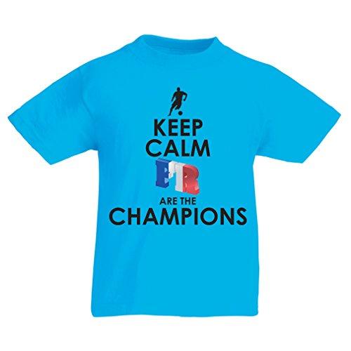 Camiseta Niños/Niñas Los franceses Son los campeones: Campeonato de Rusia 2018, Equipo de fútbol de la Copa del Mundo, Camiseta de la afición de Francia (9-11 Years Azul Multicolor)