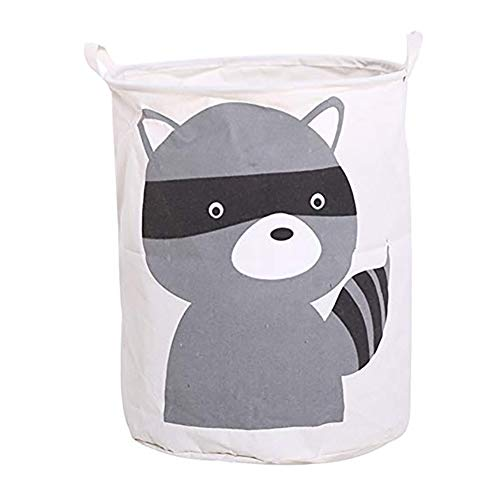Haodou Wasserdichte Wäschekorb Cartoon Tiere Kleidung Lagerung Körbe Hause Dekoration Lagerung Barrel Kinder Spielzeug Organizer Korb (Kleiner Waschbär)