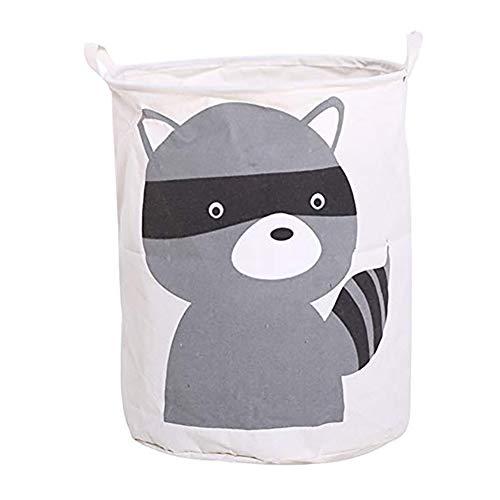 DaoRier Wäschesammler Wäschekorb Wäschetruhe Wäschesack Cartoon-Tiere Kinderzimmer Wäschebehälter (Waschbär)
