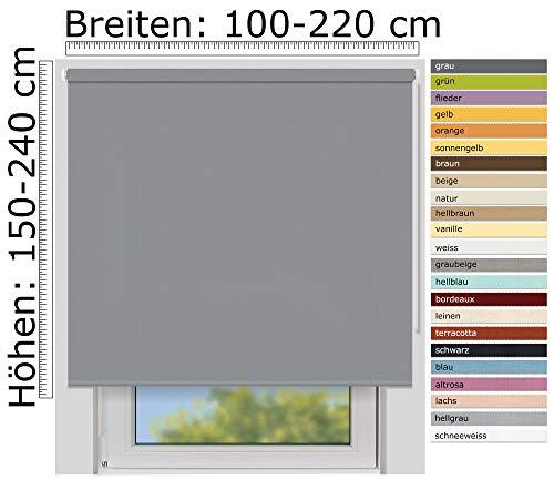 EFIXS Sichtschutzrollo Medium - 25 mm Welle - Farbe: grau (10686) - Größe: 200 x 190 cm (Stoffbreite x Höhe) - lichtdurchlässig - Blickdicht