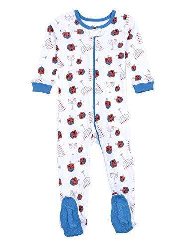 Leveret Kids & Toddler Footed Pajamas Boys Girls 100% Cotton Menorah (Size 12-18 Months)
