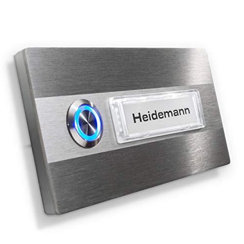 Klingel-Schild - Edelstahl - LED-Beleuchtung - Namensschild austauschbar (Namensschild ohne Beleuchtung, Taster Ohne LED)