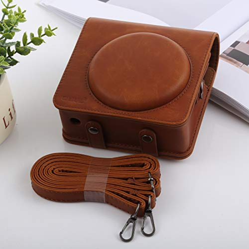 NO BRAND Bolsa de la cámara compacta Funda de Cuero Shi Ameng Estilo Retro de Cuerpo Completo de la cámara de la PU del Bolso con Correa for FUJIFILM SQ6 instax Cuadrado (Negro) (Color : Brown)