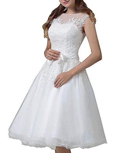 Kurze Brautkleider Spitze Vintage A-Linie Hochzeitskleider Standesamt Wadenlang Cocktailkleider Partykleider Weiß 38