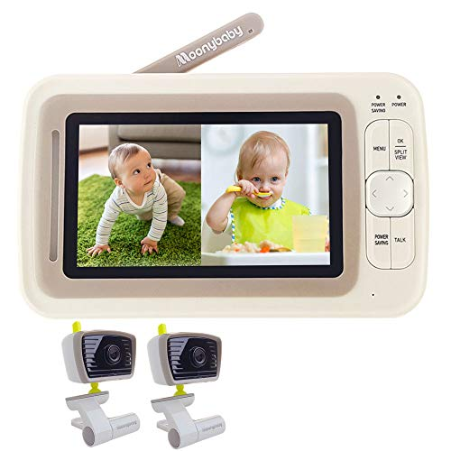 Baby Monitor Split Screen with 2 Cameras, Extended 12hrs Battery Life, Wide View, Large Screen, Long Range, Night Vision, Temperature Monitoring, 2 Way Talk Back, Power Saving by Moonybaby Monitors