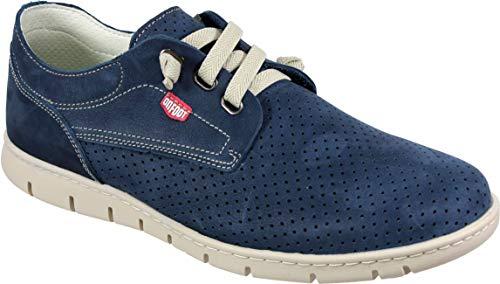 ONFOOT 8507 - Zapato Hombre Piel Cordón Elástico Picados Suela Caucho (40 EU, Marino)