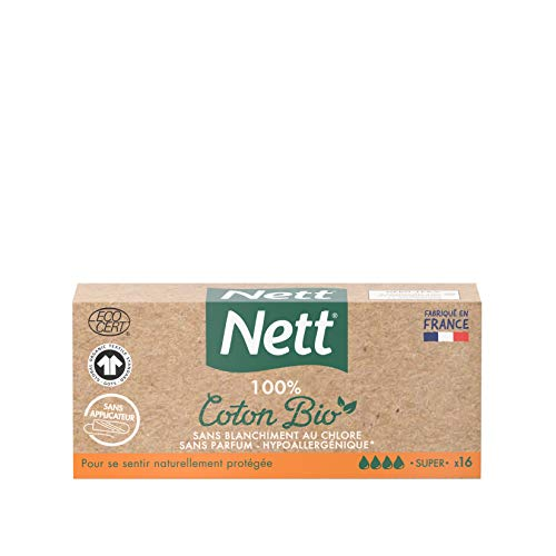 Nett Boite de 16 Tampons en Coton Bio avec Applicateur Super 16 Unités