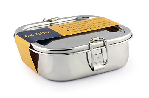 Cal Tiffin Stainless Steel SQUARE Bento Box food container Made in INDIA 25 oz 2-compartment - Eco friendly Dishwasher Safe Plastic free Zero-waste