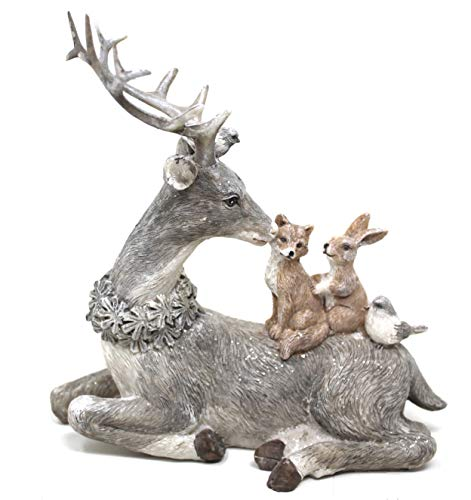 Figura decorativa de conejo de ciervo y dos pájaros, 16 x 17 cm