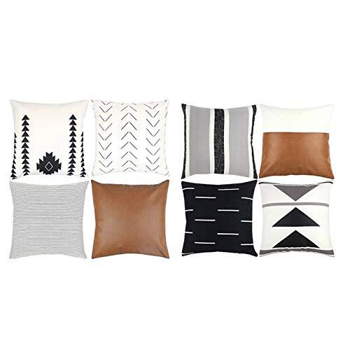 Fanuse 8 Teilige Dekorative Kissen BezüGe, 18 X 18 Zoll Modernes Design, Kurze PlüSch Streifen, Geometrisches Amaro...