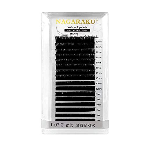 NAGARAKU Extensiones Pestañas Procesado con Láser 0.07mm C D Pelo a Pelo Larga Duración Encendedor Pestañas Postizas Natural Blando Suave Negra Individuales Extensión de Pestañas(0.12 C 8-12mm)