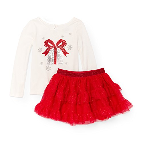 The Children's Place Baby Girls' Christmas Skirt Set, Ruby 88687, 12-18MOS