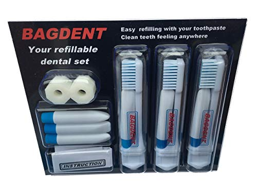 Travel Toothbrushes and Toothpaste Empty Containers - 11 PCS / SET: 3x Foldable Toothbrushes, 6x Empty Refillable Tubes (0.12 ounce), 2x Filling Adapters, Travel Set, Emergency set, Daily Use