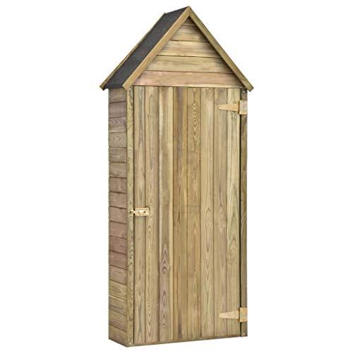 vidaXL Wooden Garden Tool Shed with Door Impregnated Pinewood 4 Storage Shelves Single Door Design Garden House Garden Storage Shed