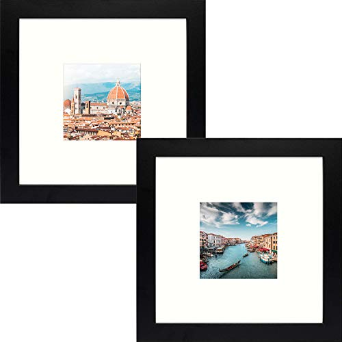 Frametory, Square Photo Frame with Ivory Color Mat, Perfect for Table-Top, Wide Molding, Built in Hanging Features (Black, 8x8 Frame for 3.5x3.5 Photo, 2-Pack)