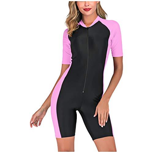 NNAA Damen Rashguard mit Reißverschluss vorne Einteiliger Badeanzug zum Surfen High Stretch Swimsuit für Frauen