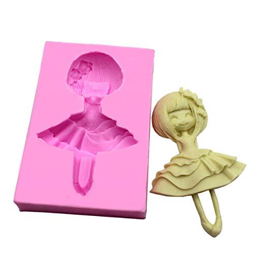 DJSK Molde de Silicona para niña Bailando, Herramientas de decoración de tortas con Fondant para Hornear Chocolate, Molde de jabón, moldes de gelatina para Recetas de Pasteles