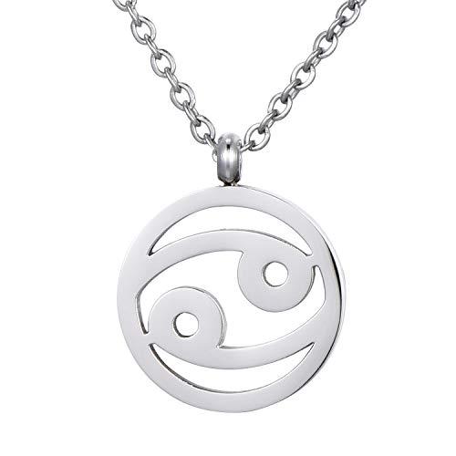 Morella Collar Acero Inoxidable Plata con Colgante Signo del Zodiaco Cáncer en Bolsa de Terciopelo