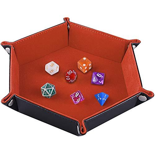 SIQUK Würfelteller, Klapp Hexagon PU Leder und Orange Velvet Dice Halter für Dungeons and Dragons RPG Würfel Gaming D & D und andere Tischspiele