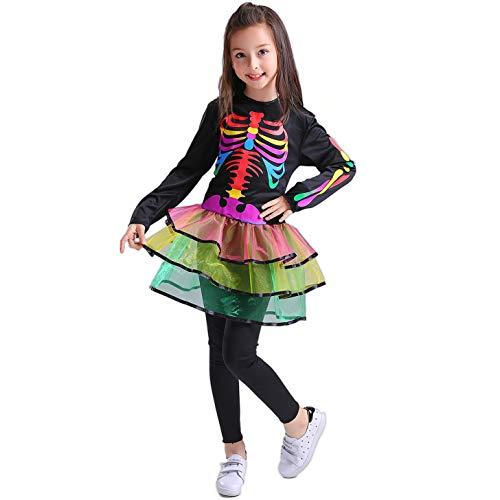 SEA HARE Vestido de Esqueleto de Arco Iris para Niñas Disfraz de Halloween (L:10-12 años)