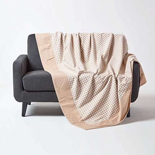 HOMESCAPES Couvre lit - Couverture, 1 ou 2 Personnes (150 x 200 cm). Pur Coton Ultra Doux. Couleur Beige Blanc