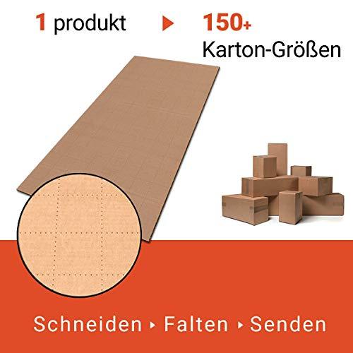 JustFoldMe KartonProfis - Scatole di cartone da spedizione, misura piccola, 10 fogli di cartone perforati da 80 x 40 cm ogni 5 cm