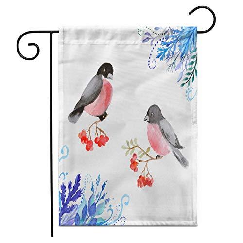 12.5 'x 18' Bandera de jardín Imagen de Invierno Camachuelo Rama de...