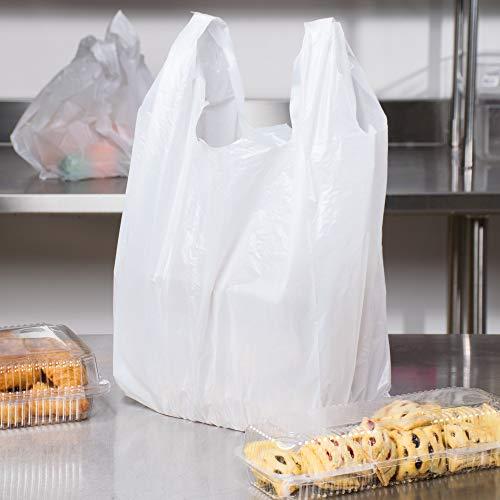 "Carry-Out Plastic Bag-White Plain T-Shirt Bag 11.5""x6.5""x21.5"" 15Mic (White, 1000/Case)"
