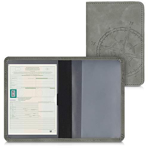 kwmobile Fahrzeugschein Hülle mit Kartenfächern - Kunstleder Etui Tasche Zulassungsbescheinigung - Kompass Vintage Grau