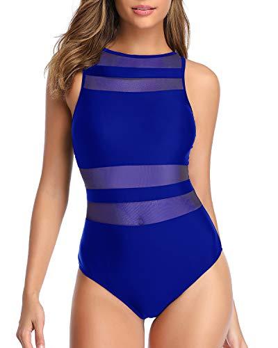 Holipick Einteiliger Damen-Badeanzug mit hohem Ausschnitt, Netzstoff, offener Rücken, Bademode - Blau - X-Large