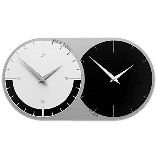 CalleaDesign 73 cm Wanduhr mit 2 Zeitzonen zum Anpassen von Schwarz