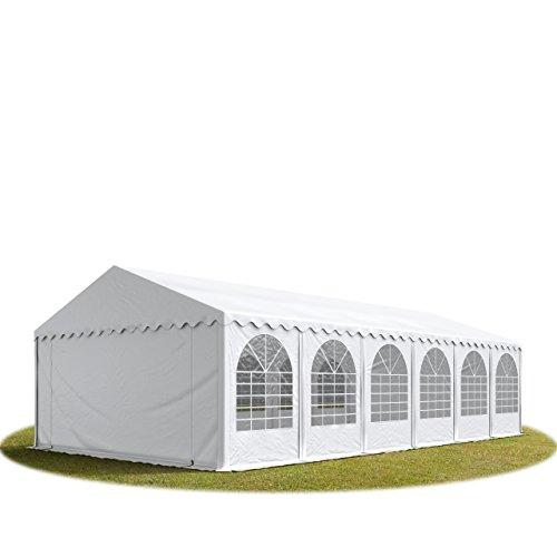 TOOLPORT Festzelt XXL Partyzelt 6x12m, hochwertige ca. 550g/m² feuersichere PVC Plane nach DIN in weiß, 100% wasserdicht, vollverzinkte Stahlkonstruktion mit Verbolzung, Seitenhöhe ca. 2,6 m