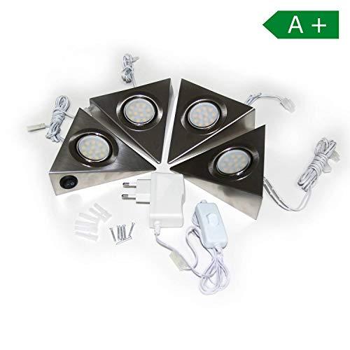 LED Unterbauleuchten Dreieckleuchte 4er Set – Schrankleuchte Küchenleuchte Komplett – hochqualitative VerarbeitungLichter – Edelstahl