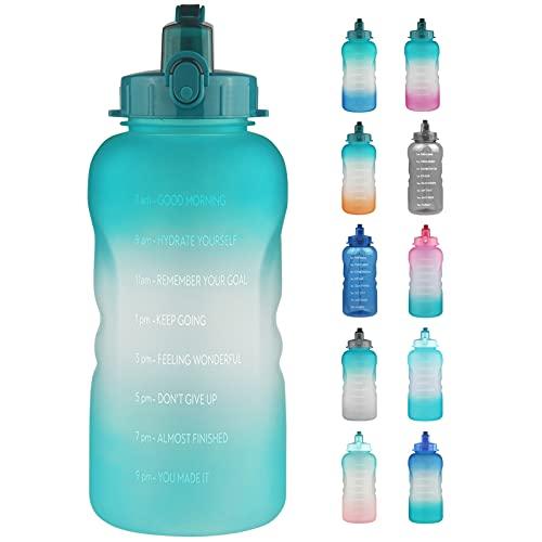 Reeho Borraccia sportiva da 3,8 l, senza BPA e durevole, grande bottiglia sportiva con cannuccia, con scritta motivazionale e indicatore del tempo