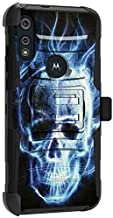 MINITURTLE Compatible with Motorola Moto E (2020) Protective Rugged Heavy Duty Holster Belt Clip Kickstand Combo Case Cover [Clip Armor] - Blue Flame Skull