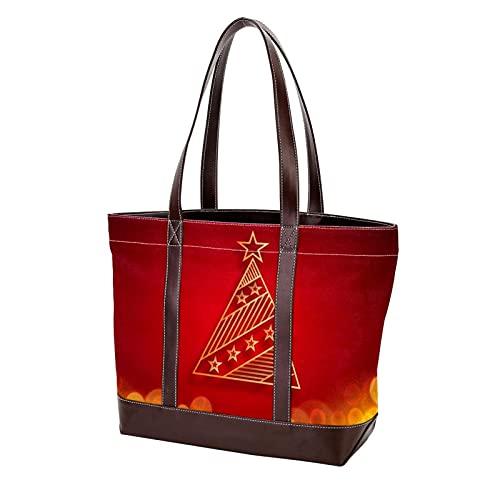 NaiiaN Geldbörse Einkaufen für Mutter Frauen Mädchen Damen Student Frohe Weihnachten Sterne Rot Weihnachtsbaum Einkaufstasche Handtaschen Umhängetaschen Leichter Riemen