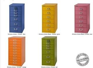 Bisley MultiDrawer, série 29, Format A4, 10 tiroirs, métal, 641 Jaune, 38 x 27,9 x 59 cm