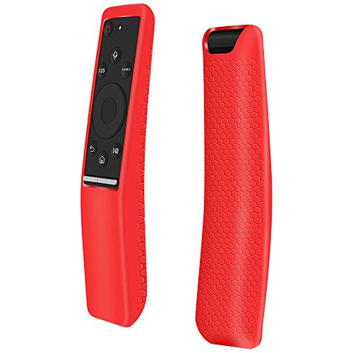 Protecitve Case Covers Holder Compatible for Samsung Smart 4k TV Remote Controller of BN59 Series,Remote case Skin Sleeve Protector for Samsung Remote Control,Slim Anti-Lost Silicone Case-Red